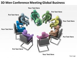 3D Men Conference Meeting Global Business Ppt Graphics Icons Powerpoint