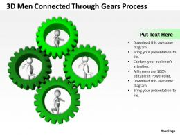 3D Men Connected Through Gears Process Ppt Graphics Icons Powerpoint