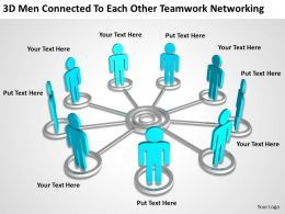 3D Men connected to each other teamwork networking Ppt Graphic Icon