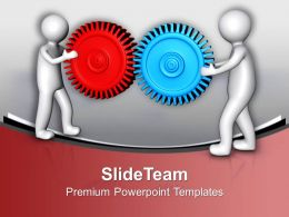 3d Men Connecting Gears Business Development PowerPoint Templates PPT Themes And Graphics 0213