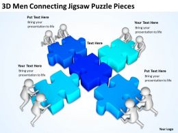 3D Men Connecting Jigsaw Puzzle Pieces Ppt Graphics Icons Powerpoint