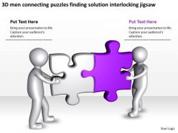 3D men connecting puzzles finding solution interlocking jigsaw Ppt Graphic Icon