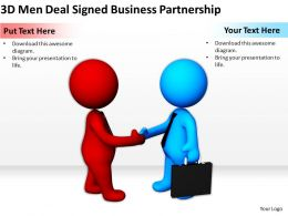3D Men Deal Signed Business Partnership Ppt Graphics Icons Powerpoint