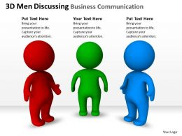 3D Men Discussing Business Communication Ppt Graphics Icons