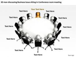 3D men discussing Business issue sitting in Conference room meeting Ppt Graphic Icon