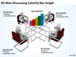 3D Men Discussing Colorful Bar Graph Ppt Graphics Icons Powerpoint