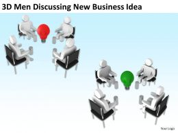 3D Men Discussing New Business Idea Ppt Graphics Icons Powerpoint