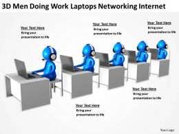 3D Men Doing Work Laptops Networking Internet Ppt Graphics Icons