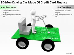 3D Men Driving Car Made Of Credit Card Finance Ppt Graphics Icons Powerpoin