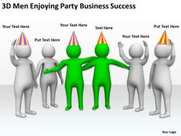 3D Men Enjoying Party Business Success Ppt Graphics Icons Powerpoint