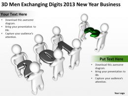 3D men exchanging digits 2013 New Year Business Ppt Graphics Icons