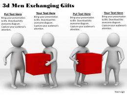 3d Men Exchanging Gifts Ppt Graphics Icons Powerpoint