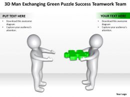 3D Men exchanging Green Puzzle Success Teamwork Team Ppt Graphic Icon