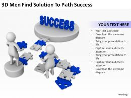 3D Men Find Solution To Path Success Ppt Graphics Icons Powerpoin