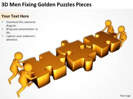 3D Men Fixing Golden Puzzles Pieces Ppt Graphics Icons