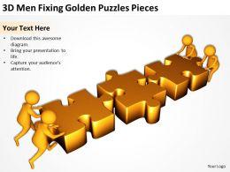3D Men Fixing Golden Puzzles Pieces Ppt Graphics Icons
