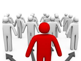3D Men Following Red Man As Leader Stock Photo