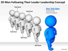 3D Men Following Their Leader Leadership Concept Ppt Graphics Icons Powerpoin