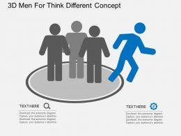 3D Men For Think Different Concept Flat Powerpoint Design