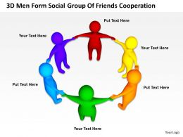 3D Men Form Social Group Of Friends Cooperation Ppt Graphics Icons