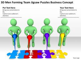 3D Men Forming Team Jigsaw Puzzles Business Concept Ppt Graphics Icons Powerpoint
