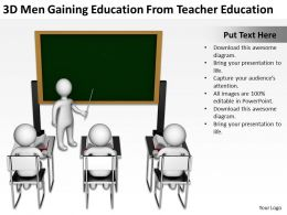 3D Men Gaining Education From Teacher Education Ppt Graphics Icons