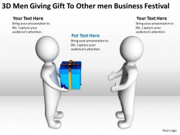 3D Men Giving Gift To Other men Business Festival Ppt Graphic Icon