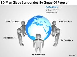 3D Men Globe surrounded by group of people Ppt Graphic Icon