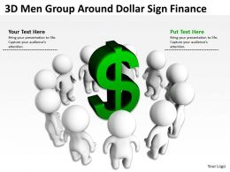 3D Men Group Around Dollar Sign Finance Ppt Graphics Icons