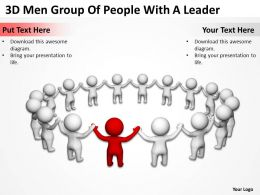 3D Men Group Of People With A Leader Ppt Graphics Icons
