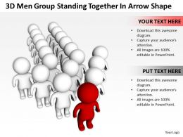 3D Men Group Standing Together In Arrow Shape Ppt Graphics Icons