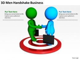 3D Men Handshake Business Ppt Graphics Icons
