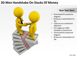 3d_men_handshake_on_stacks_of_money_ppt_graphics_icons_powerpoint_Slide01