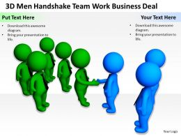 3D Men Handshake Team Work Business Deal Ppt Graphics Icons Powerpoint 0529