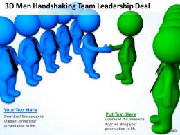 3D Men Handshaking Team Leadership Deal Ppt Graphics Icons Powerpoint