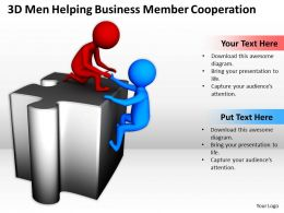 3D Men Helping Business Member Cooperation Ppt Graphics Icons Powerpoint