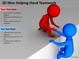 3D Men Helping Hand Teamwork Ppt Graphics Icons Powerpoint