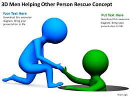 3D Men Helping Other Person Rescue Concept Ppt Graphics Icons