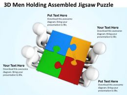 3d Men Holding Assembled Jigsaw Puzzle Ppt Graphics Icons