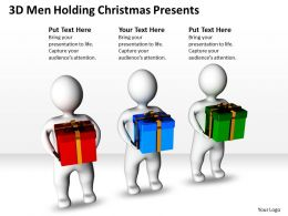 3D Men Holding Christmas Presents Ppt Graphics Icons