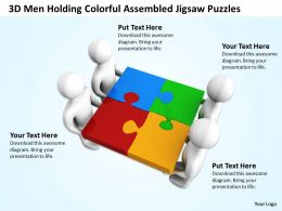 3D Men Holding Colorful Assembled Jigsaw Puzzles Teamwork Ppt Graphics Icons