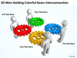 3D Men Holding Colorful Gears Interconnection Ppt Graphics Icons