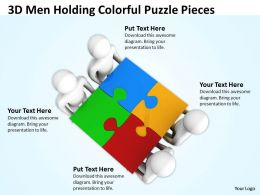 3D Men Holding Colorful Puzzle Pieces Ppt Graphics Icons