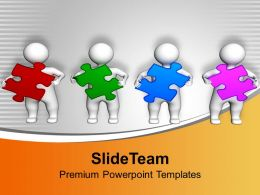 3d Men Holding Colorful Puzzles PowerPoint Templates PPT Themes And Graphics 0113