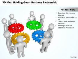 3D Men Holding Gears Business Partnership Ppt Graphics Icons