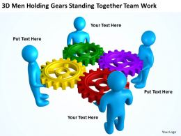 3D Men Holding Gears Standing Together Team Work Ppt Graphics Icons