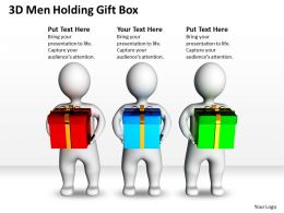 3D Men Holding Gift Box Celebration Event Ppt Graphics Icons