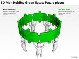 3D Men holding Green Jigsaw Puzzle pieces Ppt Graphic Icon