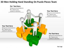 3D men Holding Hand Standing On Puzzle Pieces team Ppt Graphics Icons