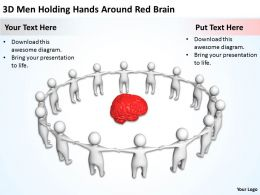 3D Men Holding Hands Around Red Brain Ppt Graphics Icons Powerpoint